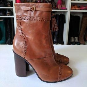 Tory Burch Huxley Brown Tassel Leather Booties